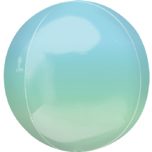 "Ombre Orbz Balloon - Blue & Green Ombre Orbz (15"") 1pc"